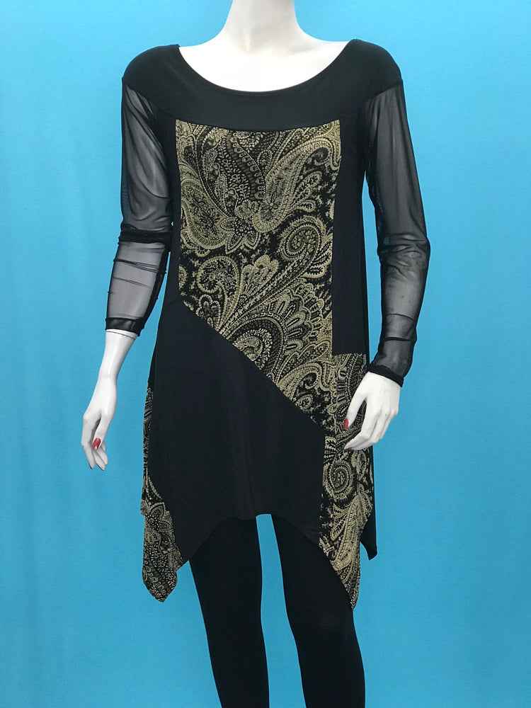 A Line Long Sleeve Gold Print Color Block Tunic Mesh Sleeve - americanfashion2