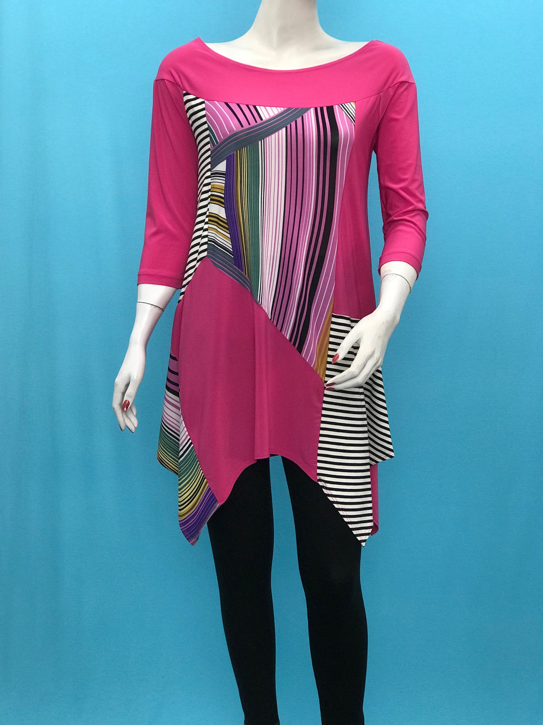 A Line Long Sleeve Geometric Print Color Block Tunic with Black White Stripe - americanfashion2