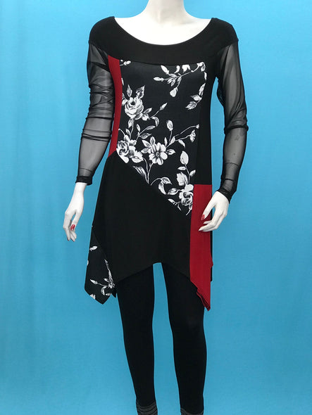 Long Sleeve Flower Color Block Tunic Print Mesh Sleeve - americanfashion2
