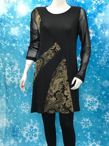 Long Sleeve Mesh Color Block Tunic with Print - americanfashion2
