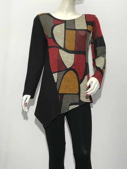 Color Block Tunic geometric Print - americanfashion2