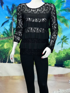Black Long Sleeve Chenille Lace Tops with Ruffle - americanfashion2