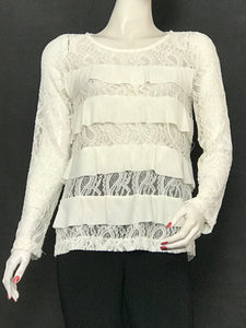 Ivory Long Sleeve Chenille Lace Tops with Ruffle - americanfashion2
