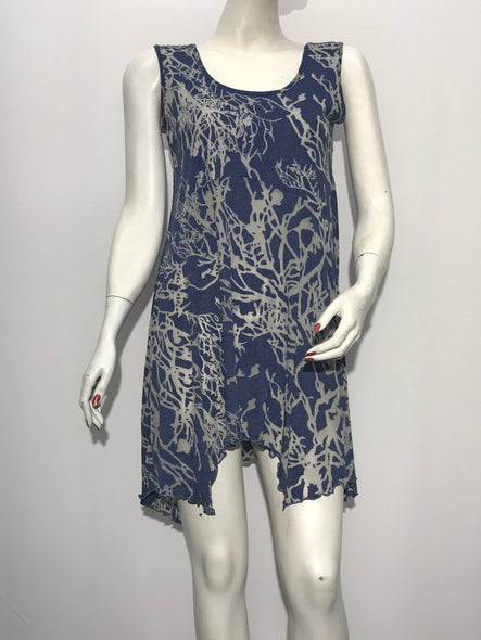 Sleeveless Tunic in Denim Print - americanfashion2