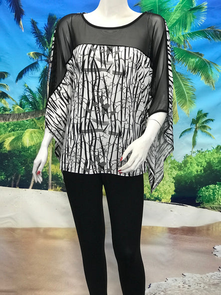 Kimono Tunic Black and White Print - americanfashion2