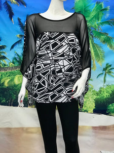 Kimono Tunic Black and White Print With Sequence - americanfashion2