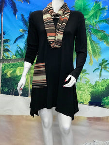 Long Sleeve Tunic with Pocket and Scarf Stripe - americanfashion2