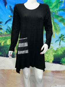 Long Sleeve Tunic with Pocket and Scarf - americanfashion2
