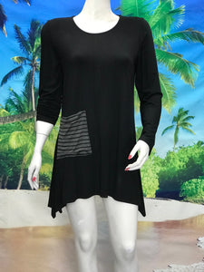 Long Sleeve Tunic with Pocket and Scarf Charcoal Stripe - americanfashion2