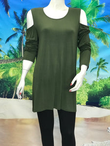 Long Sleeve Cold Shoulder Tunic - americanfashion2