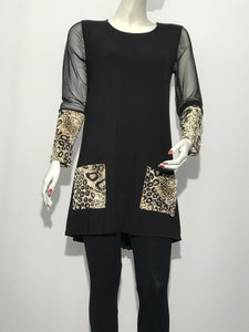 Long Sleeve Tunic with Pockets - americanfashion2