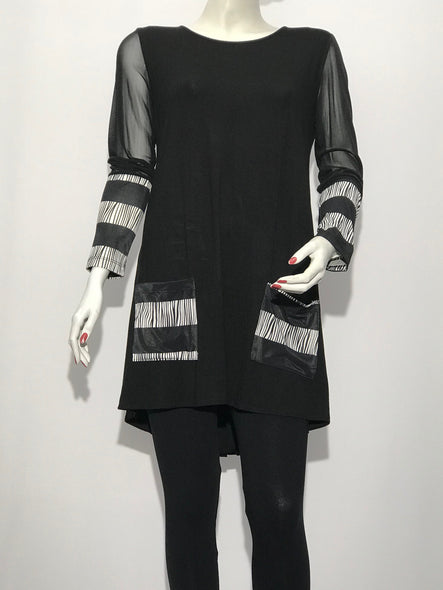 Long Sleeve Tunic with Pockets Mesh Sleeve - americanfashion2