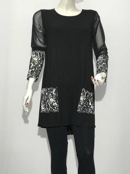 Long Sleeve Tunic with Print Pockets - americanfashion2