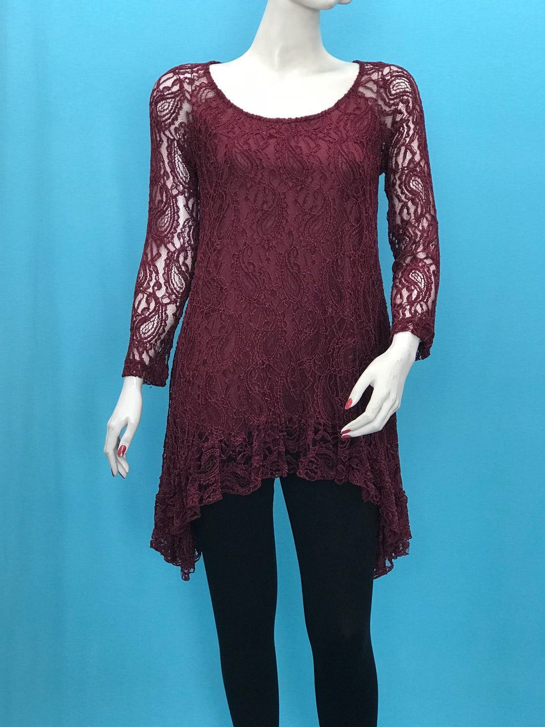 Long Sleeve Chenille Lace Tunic - americanfashion2