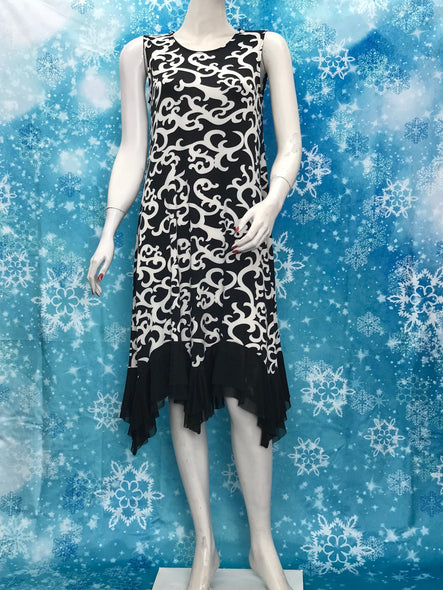 Printed Sleeveless Dress with Double Layer Mesh Ruffle - americanfashion2