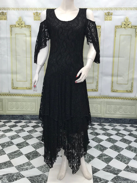 Black Cold Shoulder Lace Dress Flare Double Layer Lace Dress - americanfashion2