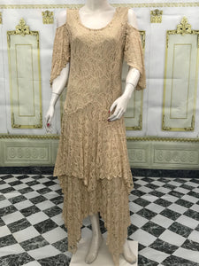Sand Color Cold Shoulder Lace Dress Flare Double Layer Lace Dress - americanfashion2