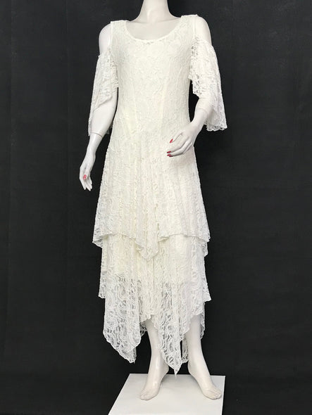 Ivory Cold Shoulder Lace Dress Flare Double Layer Lace Dress - americanfashion2