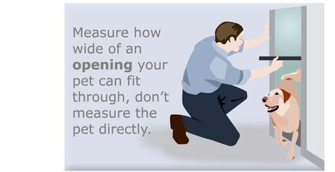 Measure how wide of an opening your pet can fit through, don't measure the pet directly