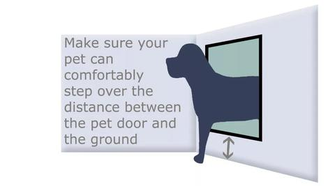 Make sure your pet can comfortably step over the distance between the pet door and the ground