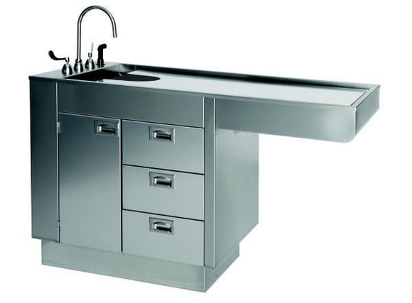 VetLine All Stainless Steel Wet Table with Cabinet and 3 Drawers-Veterinary Wet Table-Pet's Choice Supply
