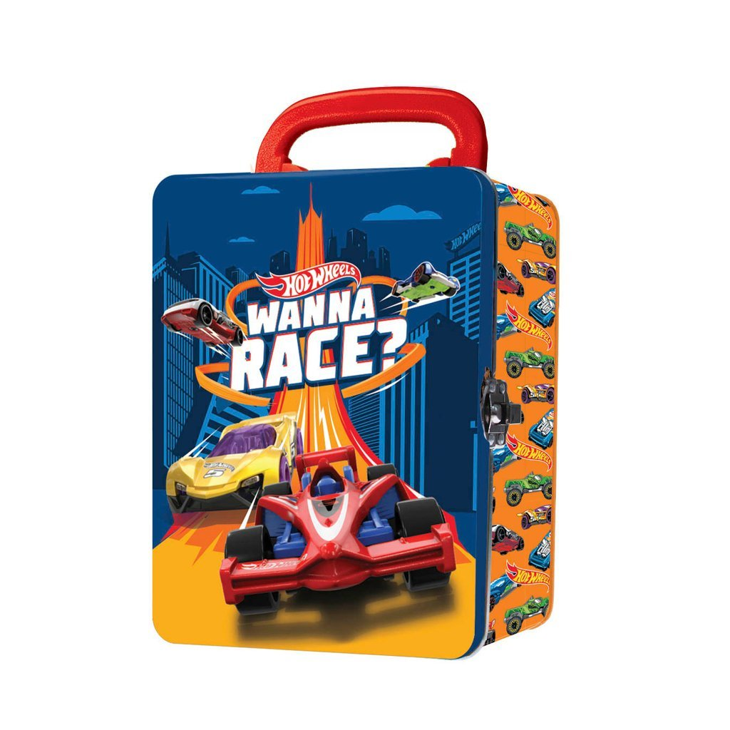 HOT WHEELS 18 BÄRVÄSKA I METALL - FÖR SMÅ BILAR - ORANGE