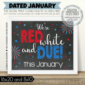 image regarding Printable Pregnancy Announcements identified as PRINTABLE Being pregnant Announcement, Crimson White and Because of - January