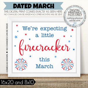 graphic relating to Printable Pregnancy Announcements titled PRINTABLE Being pregnant Announcement, Tiny Firecracker Thanks - March