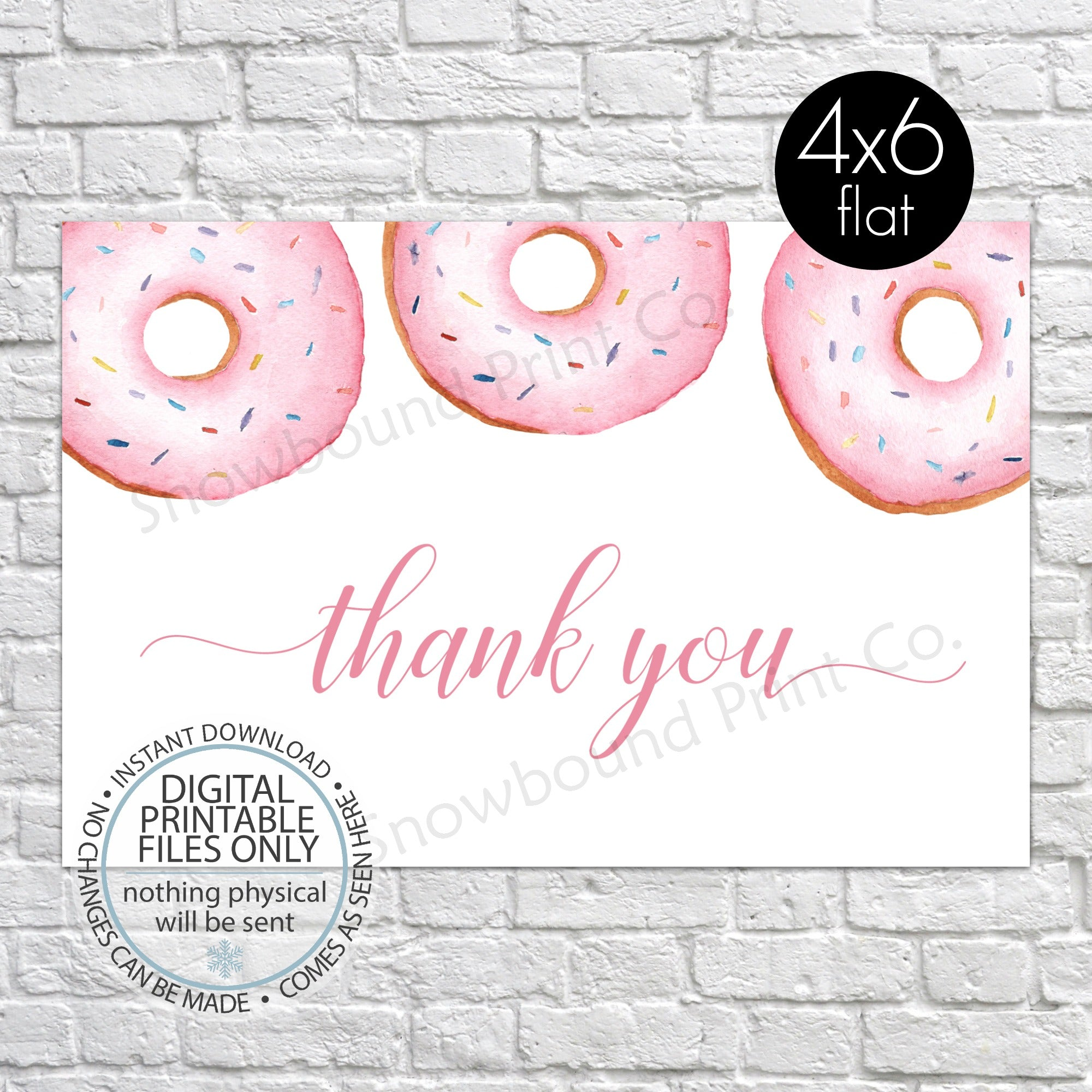 picture about Printable Baby Shower Thank You Cards named PRINTABLE Kid Shower Thank By yourself Card - Purple Donut