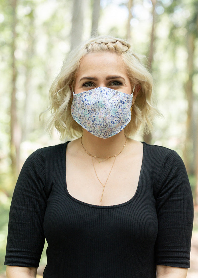 Fabric Face Mask in Blue Floral