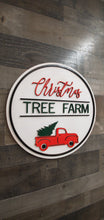 Load image into Gallery viewer, Christmas Tree Farm with red truck round sign