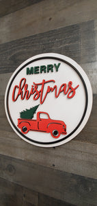 Merry Christmas with red truck round sign