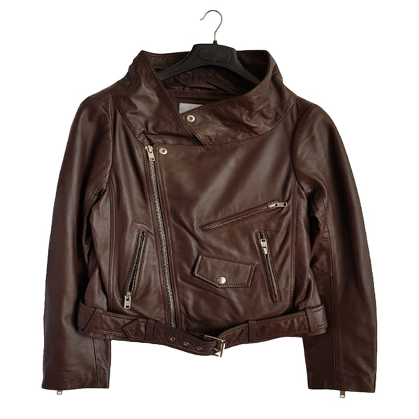 Brown Moto Leather Jacket back
