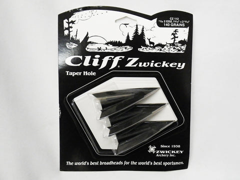 Cliff Zwickey Broadheads (2 blade, glue-on) pack of three. (Sold out temporarily)
