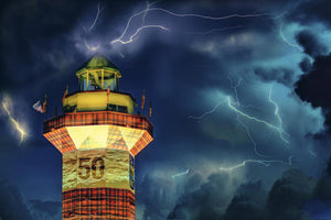 Head Island Island - Lightning over the Harbour Town Lighthouse