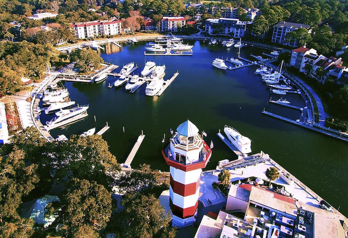 Head Island Island - Harbour Town Lighthouse aerial marina view