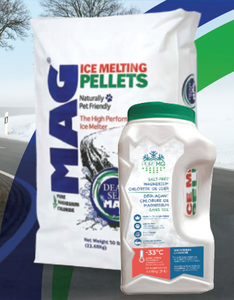 *Limited Time Offer* Winter Kit - PureMG ice melting pellets 50 Lb bag & 9 Lb jug