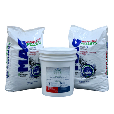 2 bags + 1 pail PureMG ice melting pellets