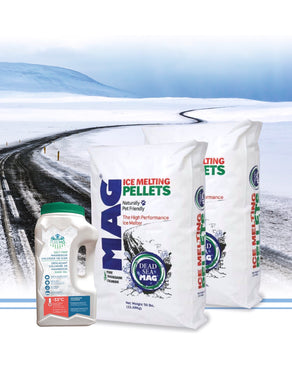 2 bags + 1 jug PureMG ice melting pellets