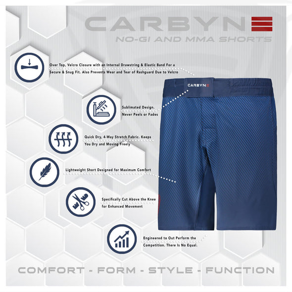 Carbyne Industries BJJ Brazilian Jiu Jitsu NoGi Grappling Shorts The United