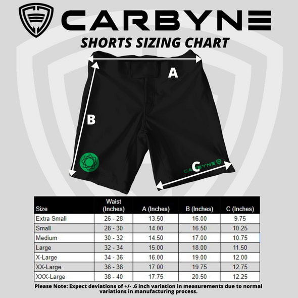 Common Ground BJJ Brazilian Jiu Jitsu Alex Aung Shawn Williams Carbyne Industries NOGI Shorts Sizing Chart