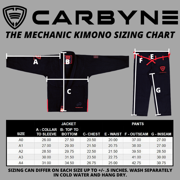 Carbyne Industries Kimono Gi Black Mechanic Shawn Williams BJJ Brazilian Jiu Jitsu