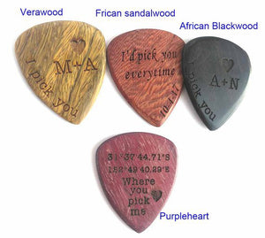Guitar Pick Necklace Custom Engraved Wood