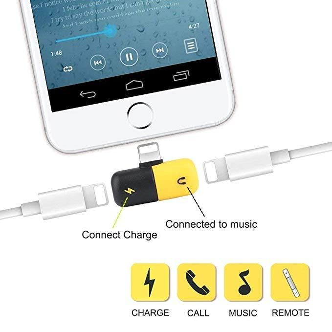2 in 1 Dual Ports Mini Adapter,Capsule Lighting Jack Charger and Headphone Audio Adapter Splitter Compatible with Phone Xs/X/Xr/Xs max/8/8P/7/7P,Support Calling & Remote & Charge & Music