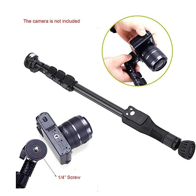 "Extendable Handheld Selfie Stick Pole with Removable Wireless Bluetooth Remote Shutter Controller Phone Clip 1/4"" Screw Carrying bag for iPhone and Andriod Smartphone"
