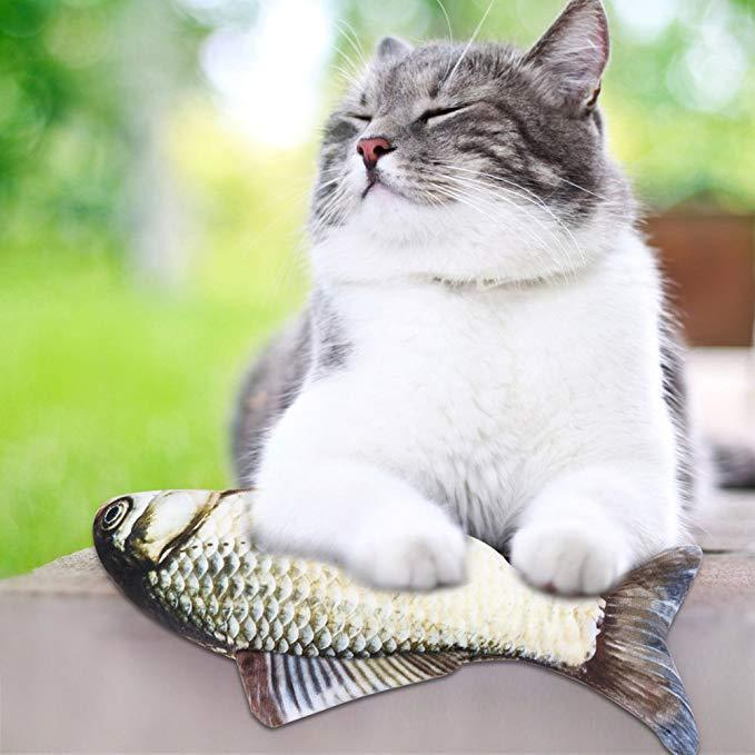 Cat Fish Shape Interactive Toy, Simulation Plush Doll Toys, Pets Pillow Chew Bite Kick Supplies for Cat Pet Kitties Baby cat