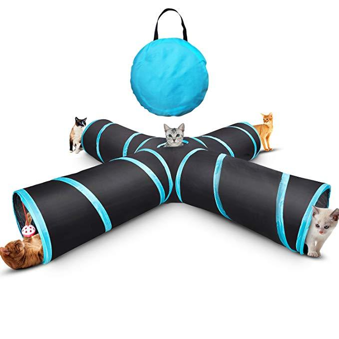 4 Way Crinkle Cat Toy Tube with Storage Bag & Catnip Toys for Large Cats,Dogs,Rabbits,Indoor/Outdoor Use