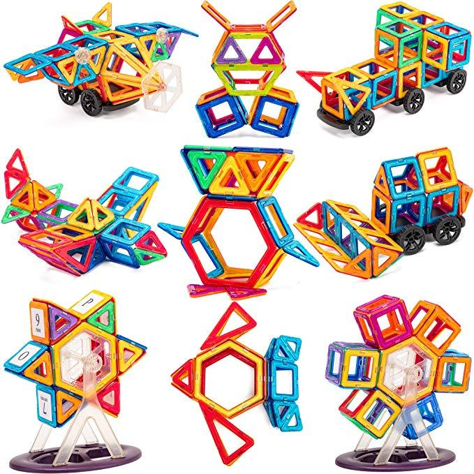 [30% OFF NOW!!] Magnetic Building Blocks with Wheels, Magnet Tiles Toys for Kids, Upgrade Quality Instruction Booklet and Storage Box Included