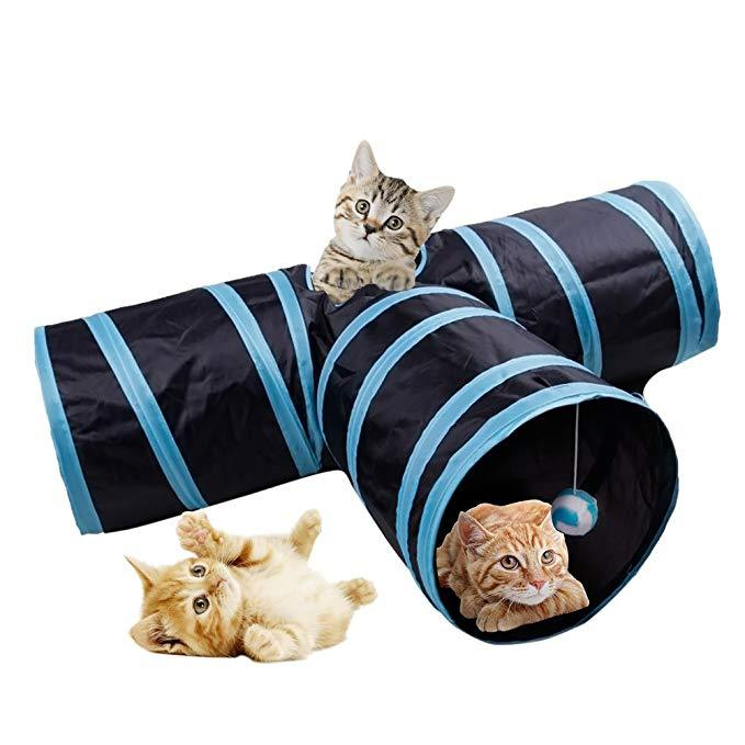 Prosper Pet Cat Tunnel - Collapsible 3 Way Play Toy - Tube Fun for Rabbits, Kittens, and Dogs