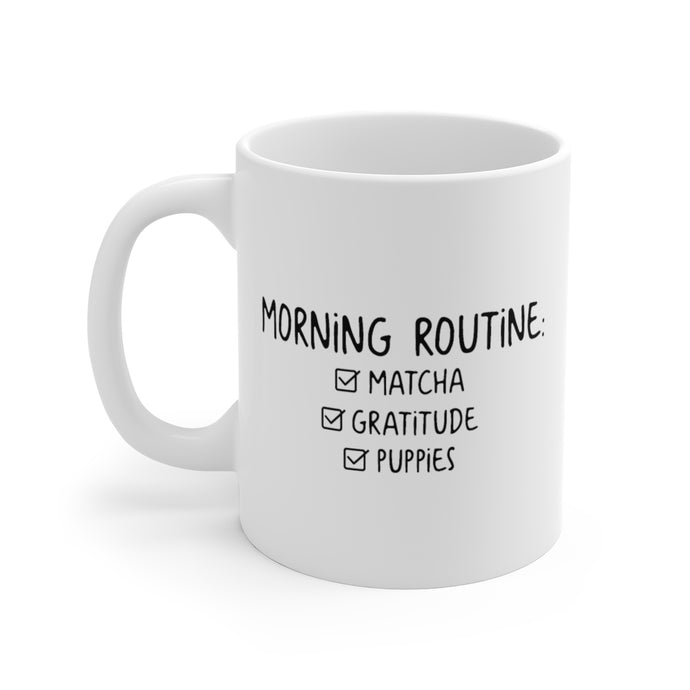 Morning Routine White Ceramic Mug
